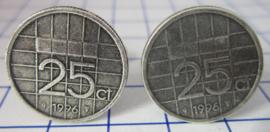 Manchetknopen verzilverd kwartje/25 cent 1996