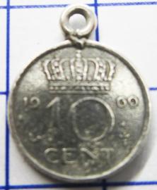 MHB027 5 stuks bedel dubbeltje verzilverd met hangoogje jaartal 1969