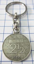 MSLE014 sleutelhanger rijksdaalder zwaar verzilverd, jaartal 2000