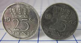 Manchetknopen verzilverd kwartje/25 cent 1964