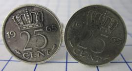 Manchetknopen verzilverd kwartje/25 cent 1968