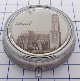 PIL_UT1.002 pillendoosje met spiegel Utrecht Dom zwart wit