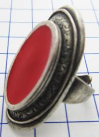 RIN403 ovale ring verzilverd, een maat, met rode emaille en zilverkleurige rand