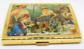 Sigarettendoosje echt verguld met reproduktie Auguste Renoir