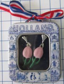 OOR 121 ijs roze tulpen oorbellen