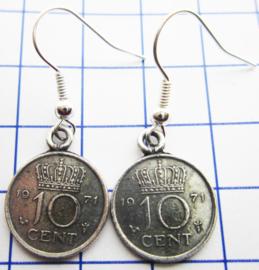 MOOR020 10 CENT 1971 oorbellen dubbeltje verzilverd