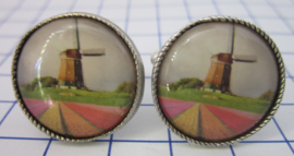 Manchetknopen verzilverd molen tulpenveld MAK112