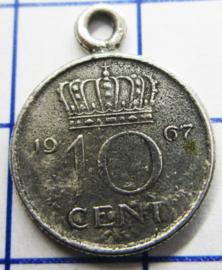 MHB025 5 stuks bedel dubbeltje verzilverd met hangoogje jaartal 1967