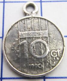 MHB045 5 stuks bedel dubbeltje verzilverd met hangoogje jaartal 1990