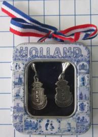 OOR 119 oorbellen wapen Amsterdam zwaar verzilverd