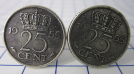 Manchetknopen verzilverd kwartje/25 cent 1955