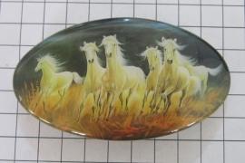 Haarspeld ovaal HAO 502, witte paarden, 8 cm