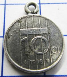 MHB052 5 stuks bedel dubbeltje verzilverd met hangoogje jaartal 1998
