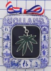 HAN 112 Collier hasjblaadje groen met kettinkje
