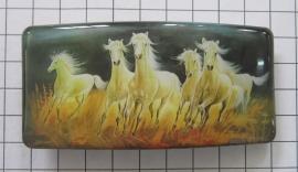 HAR 505 haarspeld rechthoek, witte paarden, 8 cm