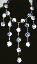 COL 009 Collier delftsblauwe molenkralen handgeschilderd, groot