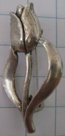 Broche tulp zwaar verzilverd BRO 301