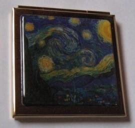 Verguld spiegeldoosje vierkant, Vincent van Gogh, sterrennacht