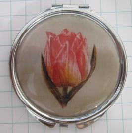 SPI 005 Spiegeldoosje roze geschilderde tulp