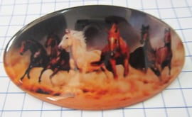 Haarspeld ovaal HAO 511, witte paarden, 8 cm