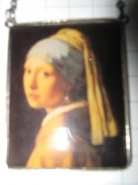 Dubbelzijdige hanger Vermeer, meisje parel en melkmeisje