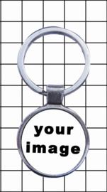 porte clefs rond metal avec votre image emaille
