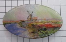 Haarspeld ovaal HAO 305 molen met tulpenveld Claude Monet