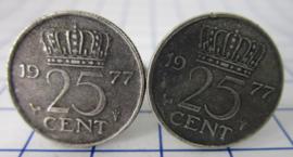 Manchetknopen verzilverd kwartje/25 cent 1977