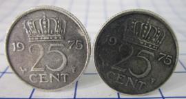 Manchetknopen verzilverd kwartje/25 cent 1975