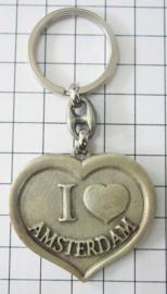 SLE601 Sleutelhanger hart I love Amsterdam zilverkleurig