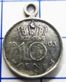 MHB023 5 stuks bedel dubbeltje verzilverd met hangoogje jaartal 1965