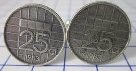 Manchetknopen verzilverd kwartje/25 cent 1983