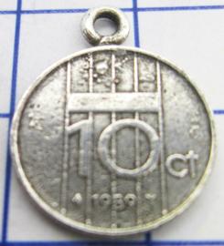 MHB044 5 stuks bedel dubbeltje verzilverd met hangoogje jaartal 1989