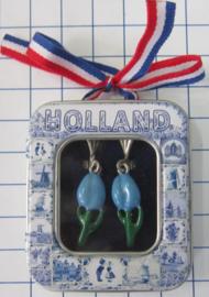 OOR 117  tulpjes oorbellen blauw