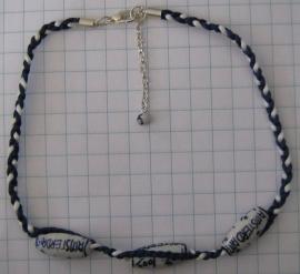 COL 014 Collier delftsblauw, koord en handgeschilderde 100% amsterdam kralen