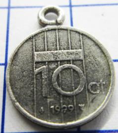 MHB053 5 stuks bedel dubbeltje verzilverd met hangoogje jaartal 1999