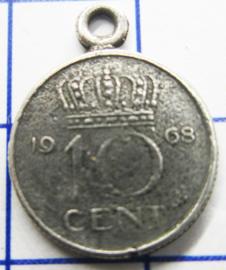 MHB026 5 stuks bedel dubbeltje verzilverd met hangoogje jaartal 1968