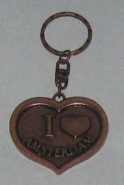 SLE005 sleutelhanger hart I love amsterdam koperkleur