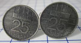 Manchetknopen verzilverd kwartje/25 cent 1985
