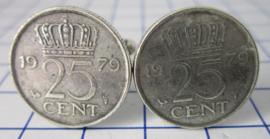 Manchetknopen verzilverd kwartje/25 cent 1979