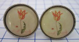Manchetknopen verzilverd oude tulp MAK103