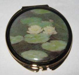 Spiegeldoosje rond, verguld met witte waterlelies Claude Monet