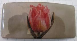 Haarspeld rechthoek geschilderde roze tulp HAR 001