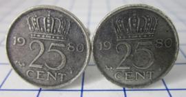 Manchetknopen verzilverd kwartje/25 cent 1980
