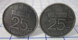 Manchetknopen verzilverd kwartje/25 cent 1992