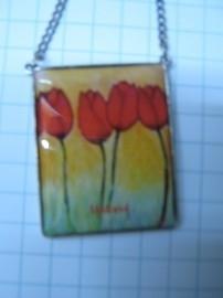 HAN 212 Dubbelzijdig collier tulpen, verzilverd