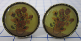 manchetknopen verzilverd afbeelding zonnebloemen Vincent van Gogh MAK007