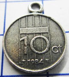 MHB039 5 stuks bedel dubbeltje verzilverd met hangoogje jaartal 1984