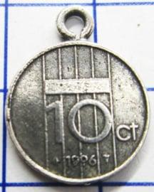 MHB051 5 stuks bedel dubbeltje verzilverd met hangoogje jaartal 1996