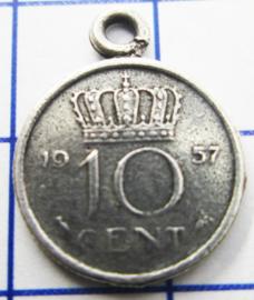 MHB018 5 stuks bedel dubbeltje verzilverd met hangoogje jaartal 1957